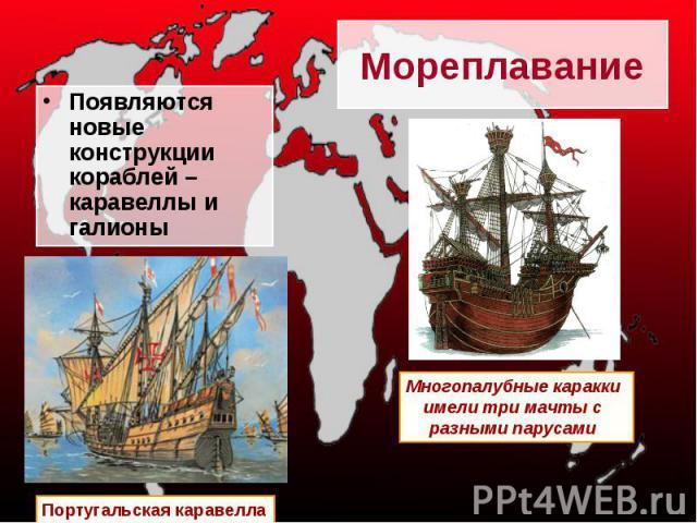 Мореплавание Появляются новые конструкции кораблей –каравеллы и галионы Португальская каравелла Многопалубные каракки имели три мачты с разными парусами