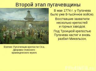 Второй этап пугачевщины Взятие Пугачевым крепости Оса.Диорама Осинского краеведч