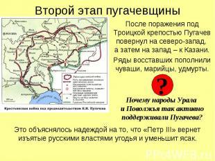Второй этап пугачевщины После поражения под Троицкой крепостью Пугачев повернул