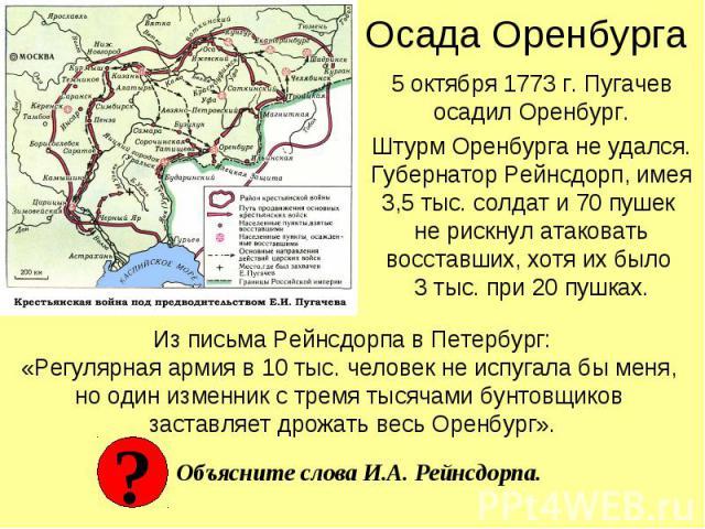 Осада Оренбурга 5 октября 1773 г. Пугачев осадил Оренбург.Штурм Оренбурга не удался.Губернатор Рейнсдорп, имея 3,5 тыс. солдат и 70 пушек не рискнул атаковать восставших, хотя их было 3 тыс. при 20 пушках. Из письма Рейнсдорпа в Петербург:«Регулярна…