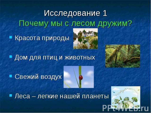 Исследование 1Почему мы с лесом дружим? Красота природыДом для птиц и животныхСвежий воздухЛеса – легкие нашей планеты