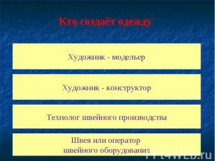 Кто создаёт одежду Художник - модельер Художник - конструктор Технолог швейного