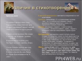 Различия в стихотворениях Крест на скалеВ теснине Кавказа я знаю скалу,Туда дол