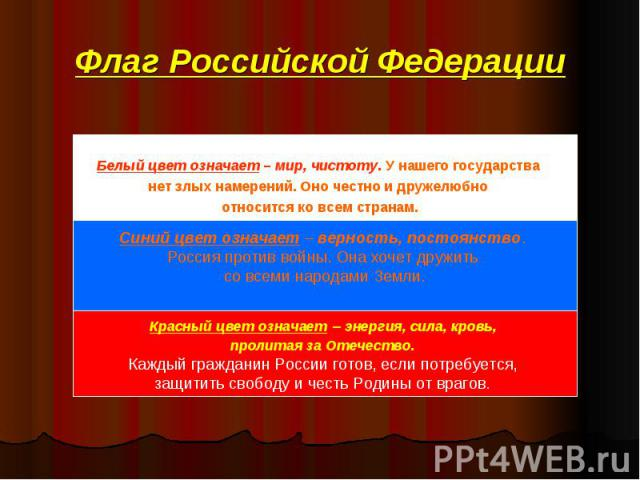Флаг Российской Федерации Белый цвет означает – мир, чистоту. У нашего государства нет злых намерений. Оно честно и дружелюбно относится ко всем странам. Синий цвет означает – верность, постоянство. Россия против войны. Она хочет дружить со всеми на…