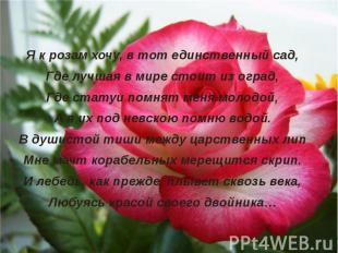 Я к розам хочу, в тот единственный сад,Где лучшая в мире стоит из оград,Где стат