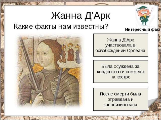 Жанна Д'Арк Какие факты нам известны? Жанна Д'Арк участвовала в освобождении Орлеана Была осуждена за колдовство и сожжена на костре После смерти была оправдана и канонизирована