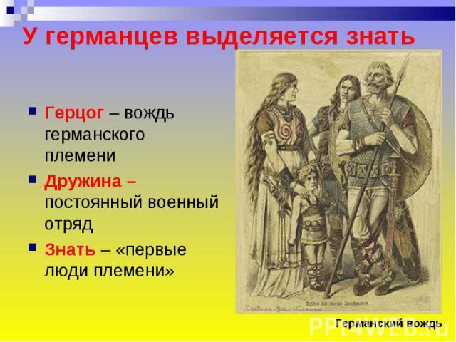 У германцев выделяется знать Герцог – вождь германского племениДружина – постоянный военный отрядЗнать – «первые люди племени»