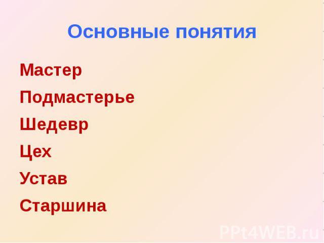Основные понятия МастерПодмастерьеШедеврЦехУставСтаршина