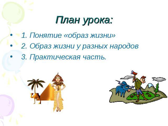 План урока: 1. Понятие «образ жизни»2. Образ жизни у разных народов3. Практическая часть.