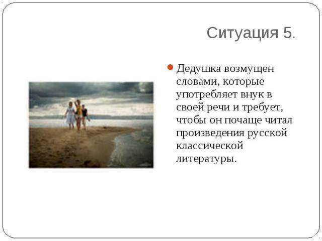 Дедушка возмущен словами, которые употребляет внук в своей речи и требует, чтобы он почаще читал произведения русской классической литературы.