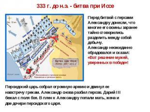 333 г. до н.э. - битва при Иссе Перед битвой с персами Александру донесли, что м