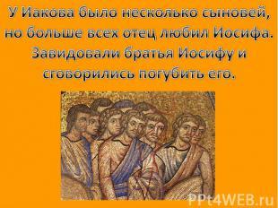 У Иакова было несколько сыновей, но больше всех отец любил Иосифа. Завидовали бр