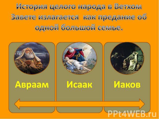 История целого народа в Ветхом Завете излагается как предание об одной большой семье. АвраамИсаакИаков