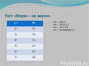 Тест «Верю – не верю». «5» - 14 (+)«4» - 13-11 (+)«3» – 10-7 (+)«2» - 6 и меньше