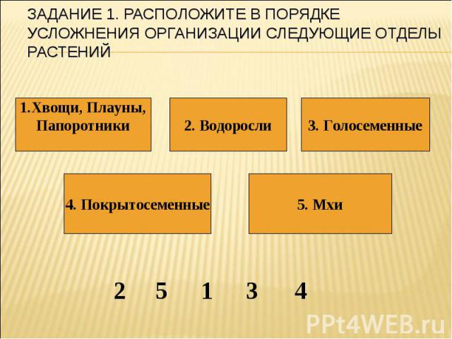 Задание 1. Расположите в порядке усложнения организации следующие отделы растений