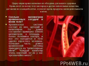 Циркуляция крови жизненно не обходима для нашего здоровья. Кровь несет по всему