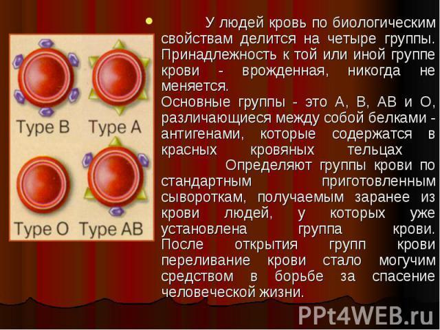 У людей кровь по биологическим свойствам делится на четыре группы. Принадлежность к той или иной группе крови - врожденная, никогда не меняется. Основные группы - это А, В, АВ и О, различающиеся между собой белками - антигенами, которые содержатся в…