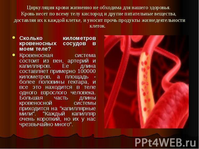 Циркуляция крови жизненно не обходима для нашего здоровья. Кровь несет по всему телу кислород и другие питательные вещества, доставляя их к каждой клетке, и уносит прочь продукты жизнедеятельности клеток. Сколько километров кровеносных сосудов в мое…