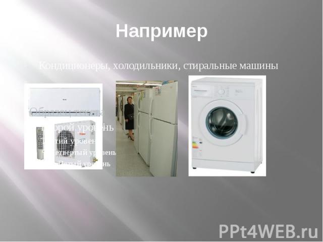 Например Кондиционеры, холодильники, стиральные машины холодильник; иииииии