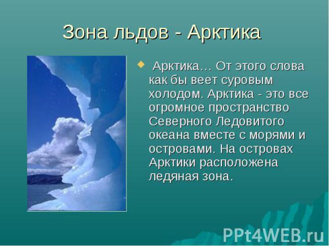 Зона льдов - Арктика Арктика… От этого слова как бы веет суровым холодом. Арктика - это все огромное пространство Северного Ледовитого океана вместе с морями и островами. На островах Арктики расположена ледяная зона.
