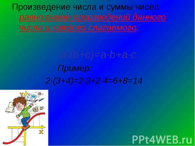 Произведение числа и суммы чисел равно сумме произведений данного числа и каждого слагаемого. а∙(b+с)=а∙b+а∙с Пример: 2∙(3+4)=2∙3+2∙4=6+8=14