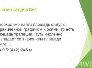 Решение задачи №4 Необходимо найти площадь фигуры, ограниченной графиком и осями