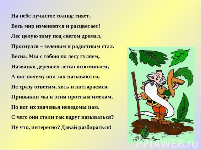 На небе лучистое солнце сияет, Весь мир изменяется и расцветает! Лес целую зиму под снегом дремал, Проснулся – зеленым и радостным стал. Весна. Мы с тобою по лесу гуляем, Названья деревьев легко вспоминаем, А вот почему они так называются, Не сразу …