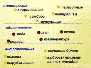 Биотические паразитизм нейтрализм мутуализм симбиоз хищничество Абиотические тем