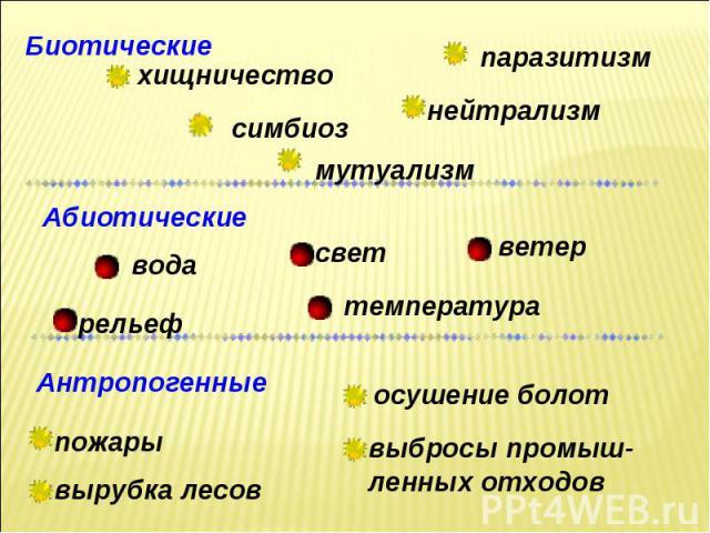 Биотические паразитизм нейтрализм мутуализм симбиоз хищничество Абиотические температура рельеф свет вода ветер Антропогенные пожары вырубка лесов выбросы промыш-ленных отходов осушение болот