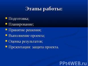 Этапы работы: Подготовка; Планирование; Принятие решения; Выполнение проекта; Оц