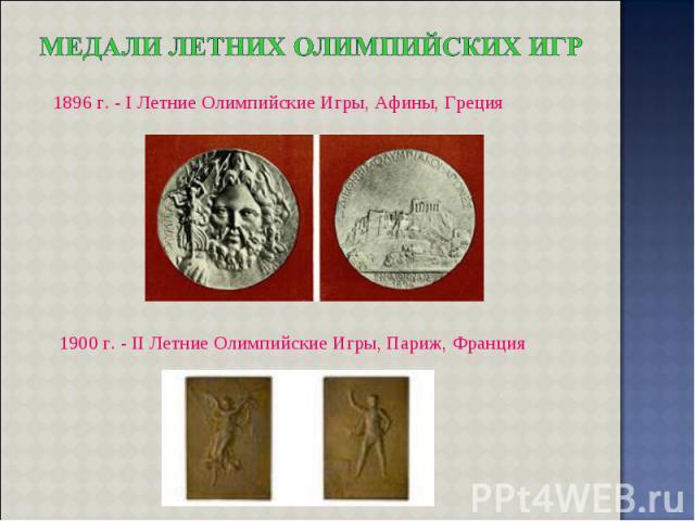 1896 г. - I Летние Олимпийские Игры, Афины, Греция 1900 г. - II Летние Олимпийские Игры, Париж, Франция