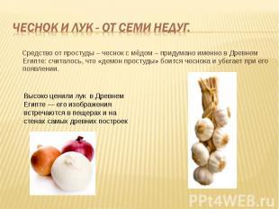 Средство от простуды – чеснок с мёдом – придумано именно в Древнем Египте: счита