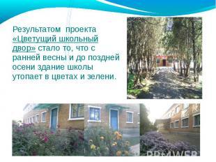 Результатом проекта «Цветущий школьный двор» стало то, что с ранней весны и до п