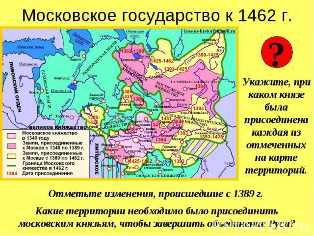 Московское государство к 1462 г.Укажите, при каком князе была присоединенакаждая из отмеченных на карте территорий.