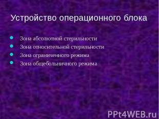 Устройство операционного блока Зона абсолютной стерильности Зона относительной с