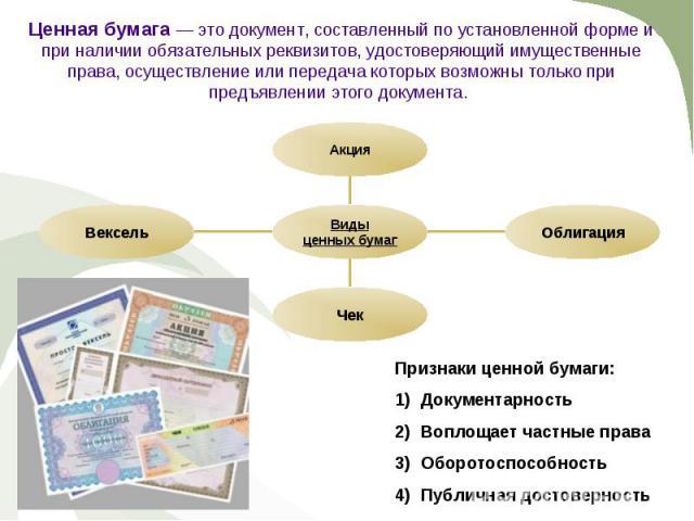 Ценная бумага — это документ, составленный по установленной форме и при наличии обязательных реквизитов, удостоверяющий имущественные права, осуществление или передача которых возможны только при предъявлении этого документа. Вексель Чек Облигация А…