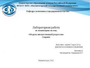 Министерство образования и науки Российской Федерации ФГБОУ ВПО «Магнитогорский