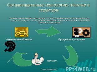 Теория организации Организационные технологии: понятие и структура Понятие «техн