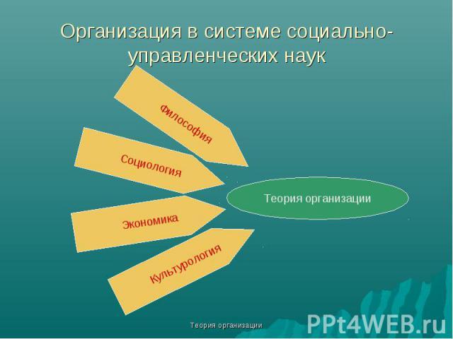 Теория организации Организация в системе социально-управленческих наук Теория организации Философия Социология Экономика Культурология