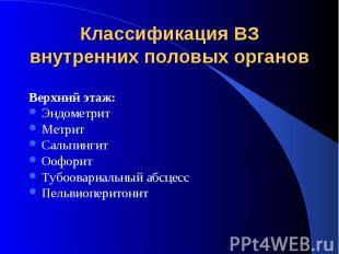 Классификация ВЗ внутренних половых органовВерхний этаж:ЭндометритМетритСальпинг