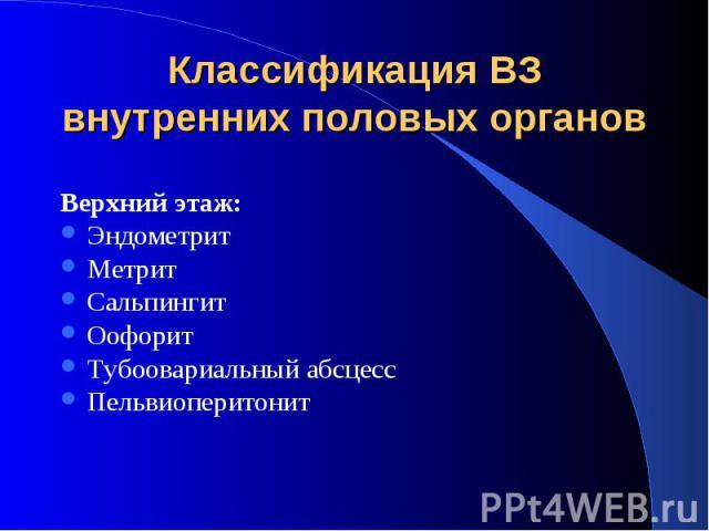 Классификация ВЗ внутренних половых органовВерхний этаж:ЭндометритМетритСальпингитОофоритТубоовариальный абсцессПельвиоперитонит