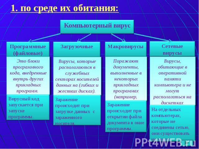 Компьютерный вирус Программные (файловые) Загрузочные Макровирусы Сетевые вирусы Это блоки программного кода, внедренные внутрь других прикладных программ. Вирусный код запускается при запуске программы. Вирусы, которые располагаются в служебных сек…