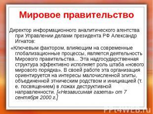 Мировое правительство Директор информационного аналитического агентства при Упра