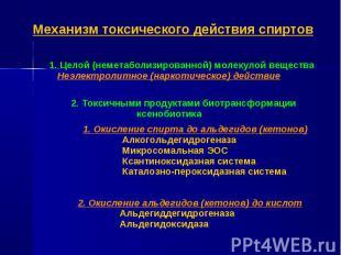 1. Целой (неметаболизированной) молекулой вещества Неэлектролитное (наркотическо