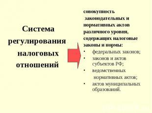 Система регулирования налоговых отношений совокупность законодательных и нормати