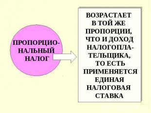 ПРОПОРЦИО- НАЛЬНЫЙ НАЛОГ ВОЗРАСТАЕТ В ТОЙ ЖЕ ПРОПОРЦИИ, ЧТО И ДОХОД НАЛОГОПЛА- Т