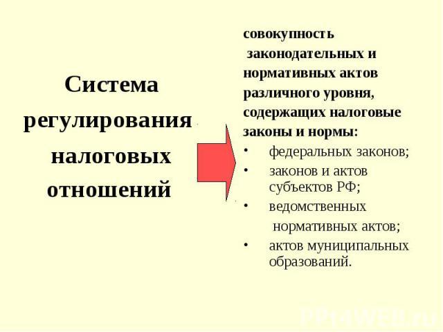 Система регулирования налоговых отношений совокупность законодательных и нормативных актов различного уровня, содержащих налоговые законы и нормы: федеральных законов; законов и актов субъектов РФ; ведомственных нормативных актов; актов муниципальны…