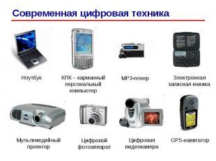 Ноутбук КПК – карманный персональный компьютер MP3-плеер Электронная записная кн