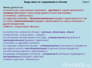 Тема 2 Виды имен по содержанию и объему Имена делятся на: по количеству существе