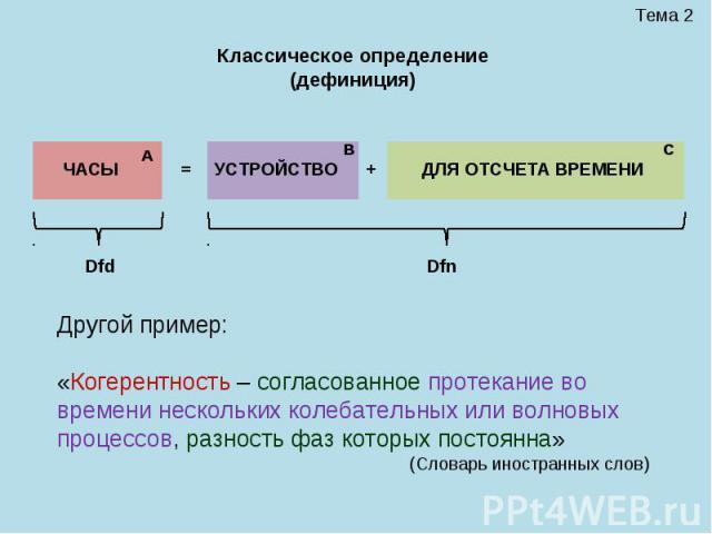 Тема 2 ЧАСЫ = УСТРОЙСТВО + ДЛЯ ОТСЧЕТА ВРЕМЕНИ Dfd Dfn А В С Классическое определение (дефиниция) Другой пример: «Когерентность – согласованное протекание во времени нескольких колебательных или волновых процессов, разность фаз которых постоянна» (С…